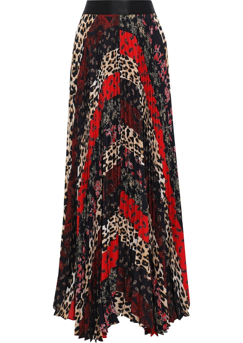 Alice + Olivia Woman Katz Pleated Patchwork-effect Printed Crepe De Chine Maxi Skirt Multicolor