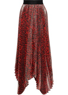 Alice + Olivia Woman Katz Sunburst Pleated Leopard-print Silk-blend Lamé Maxi Skirt Red