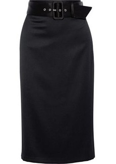 Alice + Olivia Woman Kerstin Belted Wool-blend Skirt Black