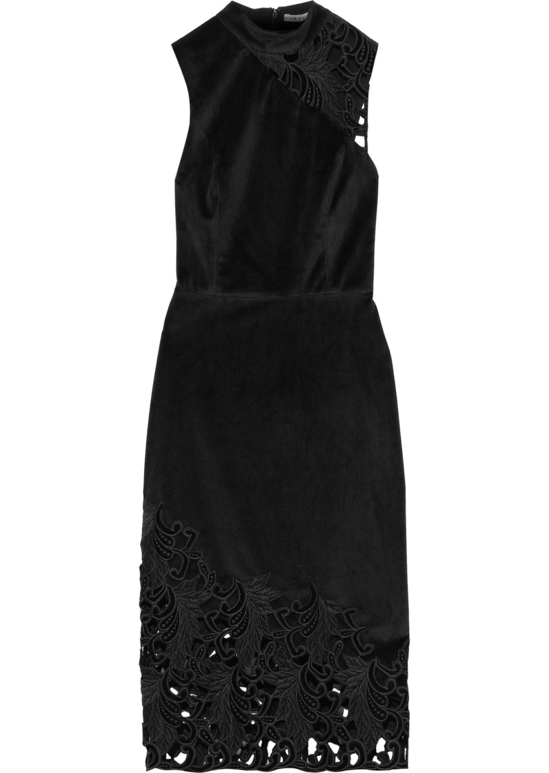Alice + Olivia Woman Kiana Velvet And Guipure Lace Dress Black