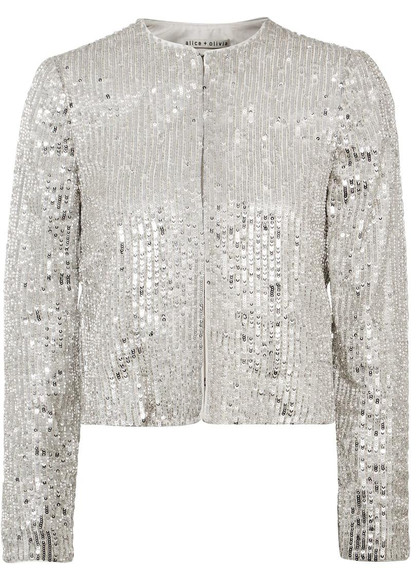Alice + Olivia Woman Kidman Embellished Crepe Jacket Silver