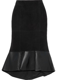 Alice + Olivia Woman Kina Fluted Leather-paneled Suede Skirt Black