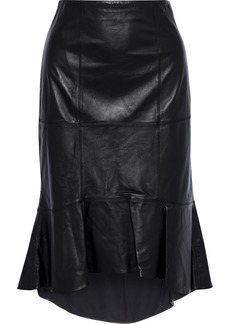 Alice + Olivia Woman Kina Ruffled Leather Skirt Black