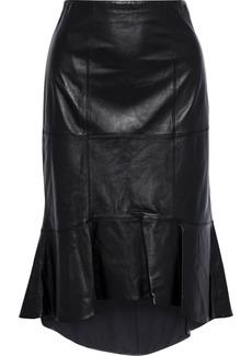 Alice + Olivia Woman Kina Ruffled Leather Skirt Black