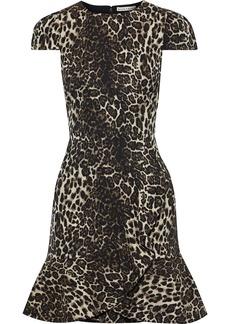 Alice + Olivia Woman Kirby Metallic Cotton-blend Leopard-jacquard Mini Dress Animal Print