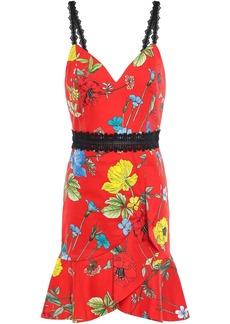 Alice + Olivia Woman Kirby Seine Garden Ruffled Floral-print Cotton-blend Mini Dress Red