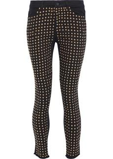 Alice + Olivia Woman Kirk Cropped Studded Mid-rise Skinny Jeans Black