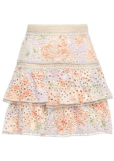 Alice + Olivia Woman Kirsten Tiered Floral-print Broderie Anglaise Modal Mini Skirt Lilac