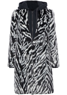 Alice + Olivia Woman Kylie French Terry-trimmed Zebra-print Faux Fur Hooded Coat Black