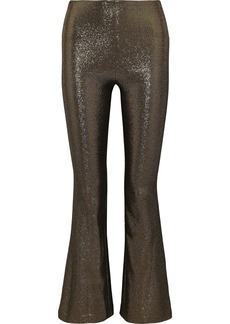 Alice + Olivia Woman Kylyn Lamé Bootcut Pants Bronze