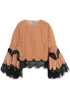 Alice + Olivia Woman Lace-trimmed Ruffled Velvet Top Antique Rose