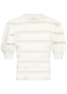 Alice + Olivia Woman Lace-trimmed Stretch-knit Top Ivory