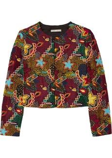 Alice + Olivia Woman Lainey Embellished Embroidered Crepe Jacket Merlot