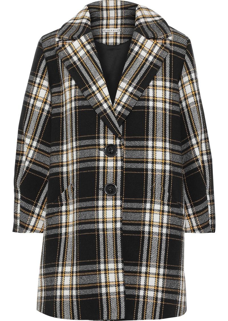 Alice + Olivia Woman Lance Checked Cotton-blend Coat Black