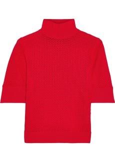 Alice + Olivia Woman Lanie Pointelle-knit Turtleneck Top Red