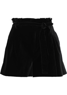 Alice + Olivia Woman Laurine Belted Velvet Shorts Black