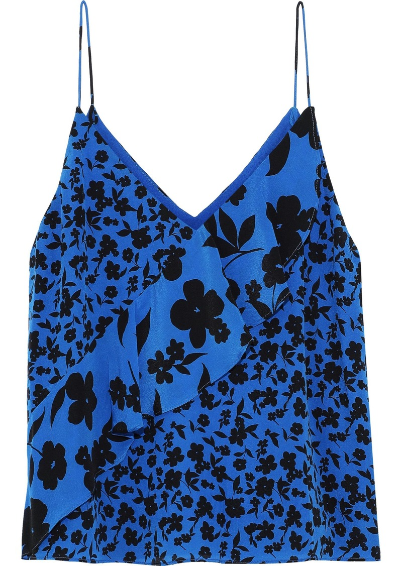 Alice + Olivia Woman Lavonia Ruffled Floral-print Silk Crepe De Chine Camisole Cobalt Blue