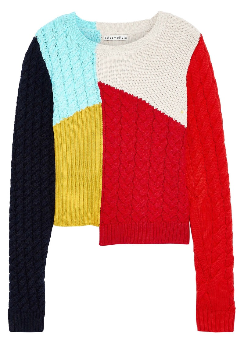 Alice + Olivia Woman Lebell Color-block Patchwork Wool-blend Sweater Multicolor