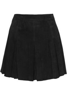 Alice + Olivia Woman Lee Pleated Suede Mini Skirt Black