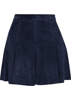 Alice + Olivia Woman Lee Pleated Suede Mini Skirt Navy