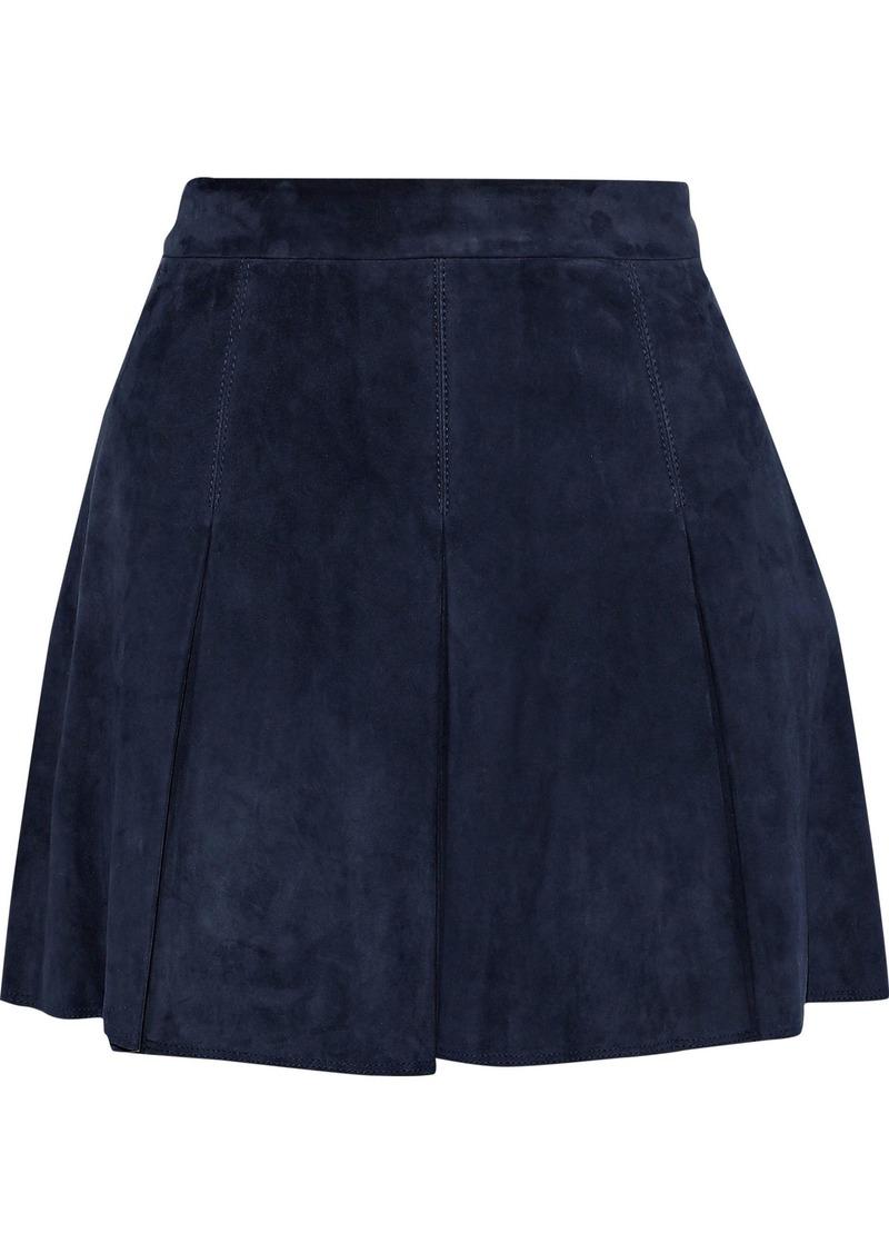 Alice + Olivia Woman Lee Pleated Suede Mini Skirt Navy