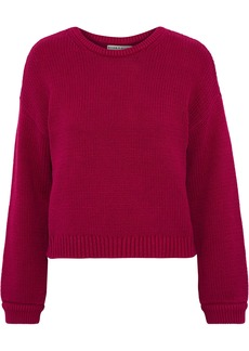 Alice + Olivia Woman Leena Cotton-blend Sweater Magenta