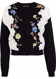 Alice + Olivia Woman Leena Lace-paneled Embroidered Stretch-cotton Cardigan Black