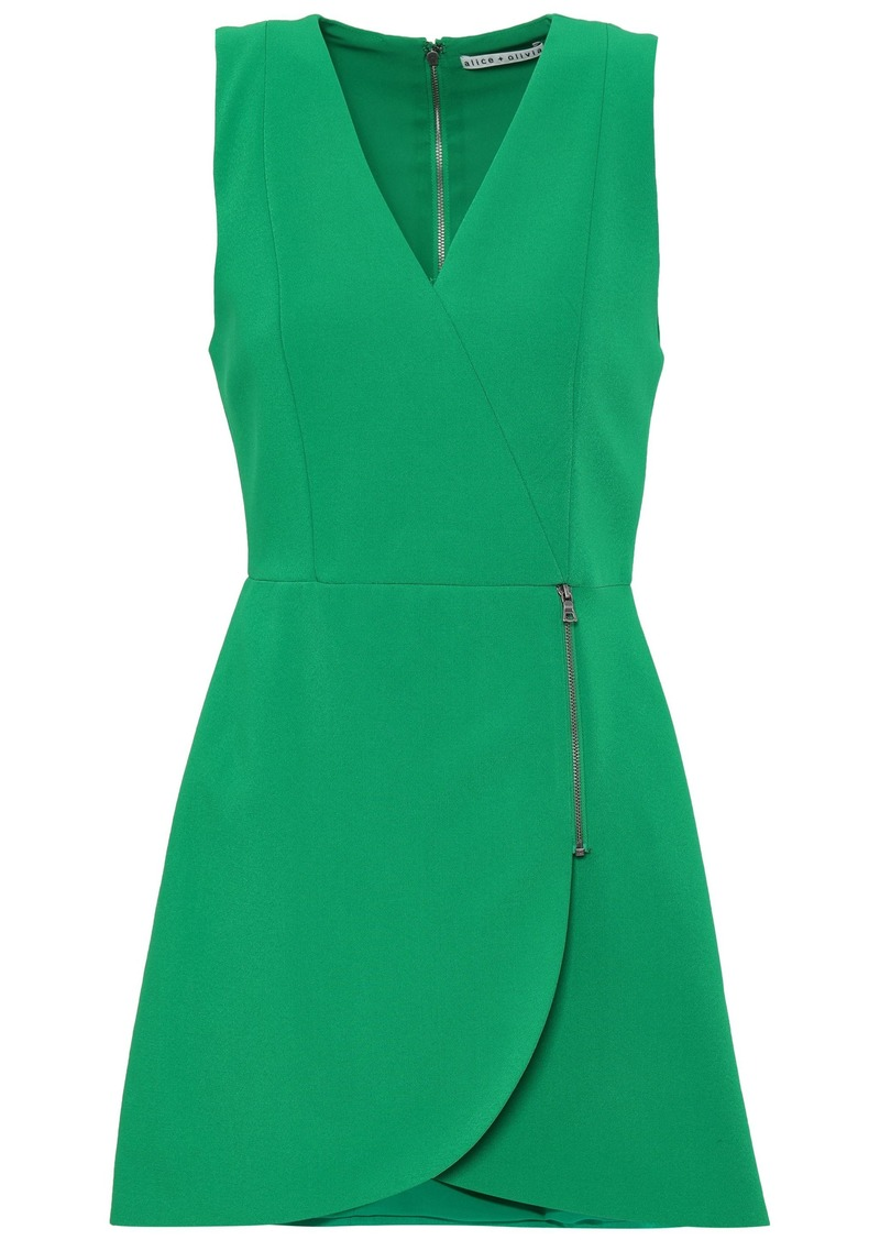 Alice + Olivia Woman Lennon Zip-detailed Crepe Mini Dress Green