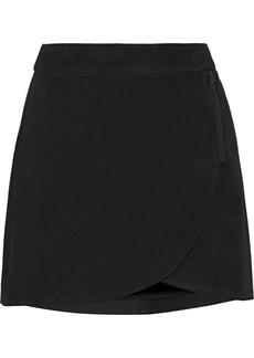 Alice + Olivia Woman Lennon Zip-embellished Suede Mini Skirt Black