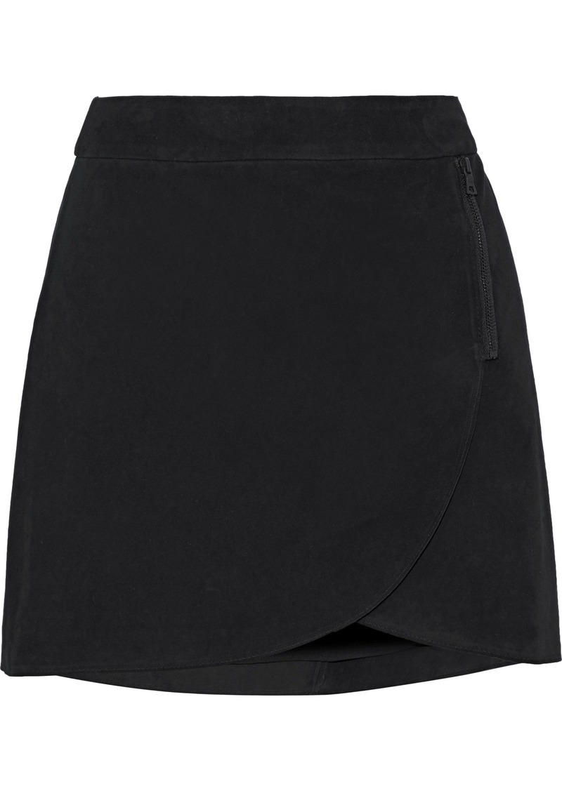 Alice + Olivia Woman Lennon Zip-embellished Suede Mini Skirt Black