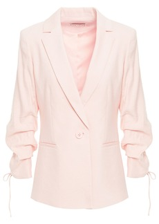 Alice + Olivia Woman Lester Ruched Linen-blend Blazer Baby Pink