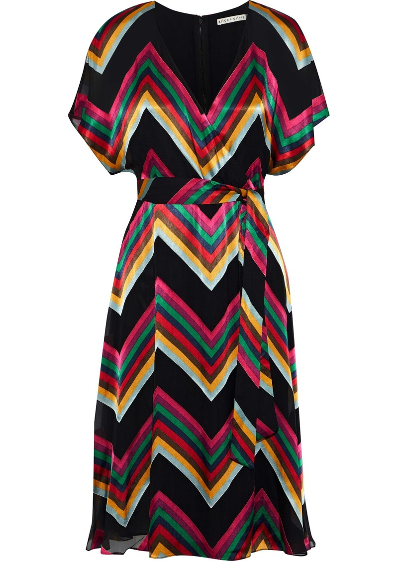 Alice + Olivia Woman Lexa Wrap-effect Striped Burnout Satin Dress Multicolor
