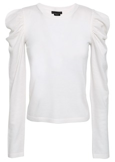 Alice + Olivia Woman Lidia Gathered Wool-blend Top Ivory