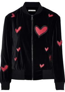 Alice + Olivia Woman Lila Appliquéd Velvet Bomber Jacket Black