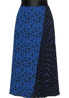 Alice + Olivia Woman Lilia Pleated Printed Crepe Midi Skirt Blue