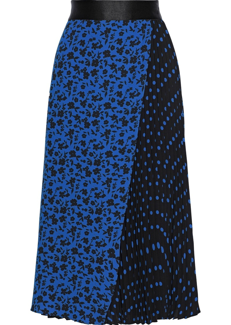 Alice + Olivia Woman Lilia Pleated Printed Crepe Midi Skirt Blue