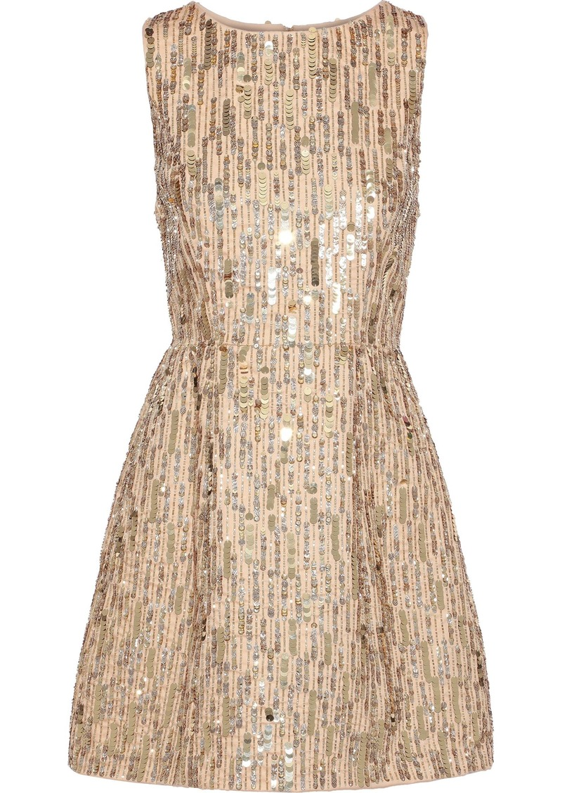 Alice + Olivia Woman Lindsey Embellished Cotton Mini Dress Gold