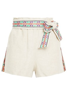Alice + Olivia Woman Linn Belted Embellished Linen Shorts Beige