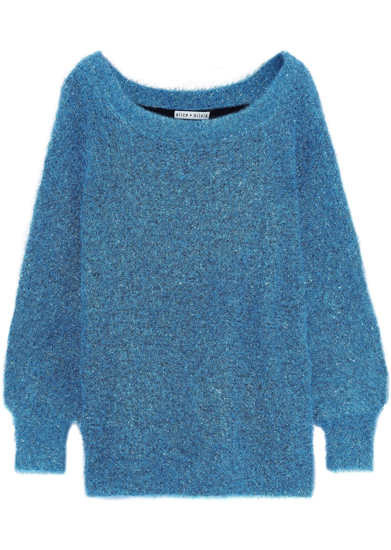 Alice + Olivia Woman Lisha Tinsel Sweater Turquoise