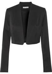 Alice + Olivia Woman Londyn Cropped Satin-crepe Jacket Black
