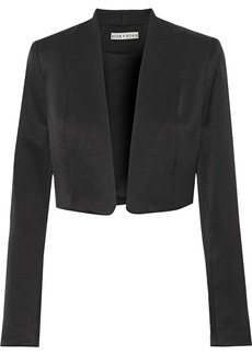 Alice + Olivia Woman Londyn Cropped Satin-crepe Jacket Black