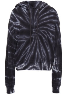 Alice + Olivia Woman Long Barron Tie-dyed French Cotton-terry Hoodie Black