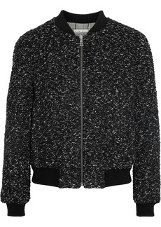 Alice + Olivia Woman Lonnie Reversible Bouclé And Prince Of Wales Checked Cady Bomber Jacket Black
