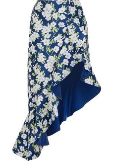 Alice + Olivia Woman Lovetta Asymmetric Ruffled Floral-jacquard Skirt Bright Blue