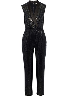 Alice + Olivia Woman Lyle Wrap-effect Cropped Sequined Crepe Jumpsuit Black