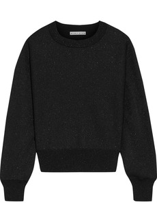 Alice + Olivia Woman Maire Metallic Knitted Sweater Black