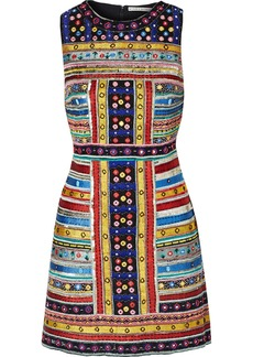Alice + Olivia Woman Malin Embellished Chiffon Mini Dress Multicolor