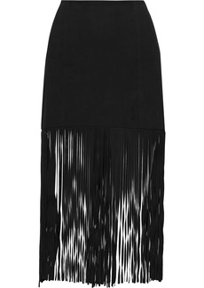 Alice + Olivia Woman Malina Fringed Suede Midi Skirt Black