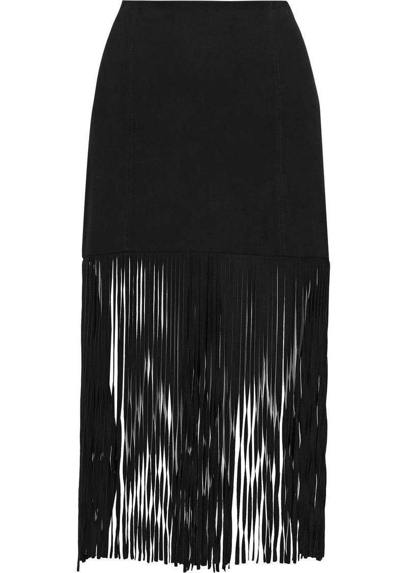 Alice + Olivia Woman Malina Fringed Suede Midi Skirt Black