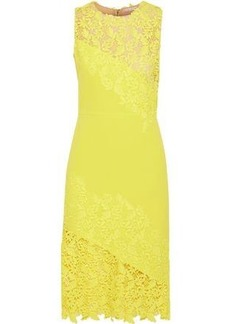 Alice + Olivia Woman Margy Neon Guipure Lace-paneled Ponte Dress Yellow